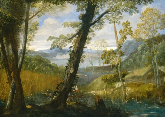 Carracci, Annibale: River Landscape. Fine Art Print/Poster. Sizes: A4/A3/A2/A1 (002056)